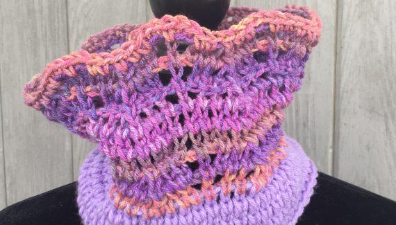 Tunisian Crochet Pattern Dusky Sunset Cowl