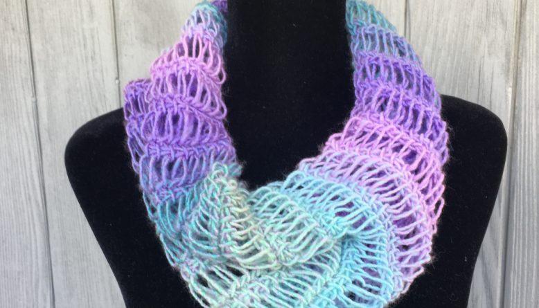 WaterfallCowl Tunisian Crochet Dropstitch pattern