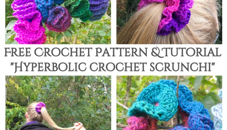 hyperbolic crochet hair scrunchie pattern