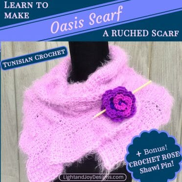 oasis scarf wrap ruched crochet tunisian crochet