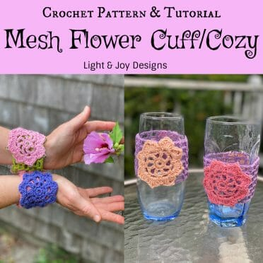 Crochet Flower Mesh Cuff Cozy