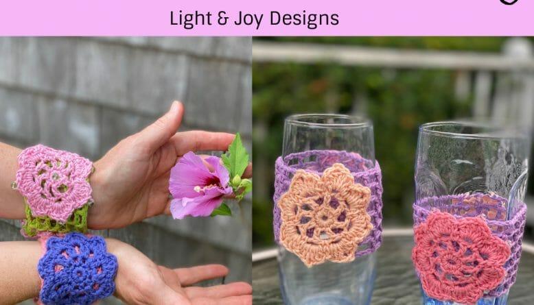 Crochet Flower Mesh Cuff Cozy