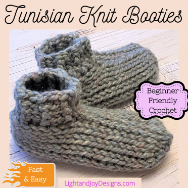 Tunisian-Crochet -Knit-Booties-